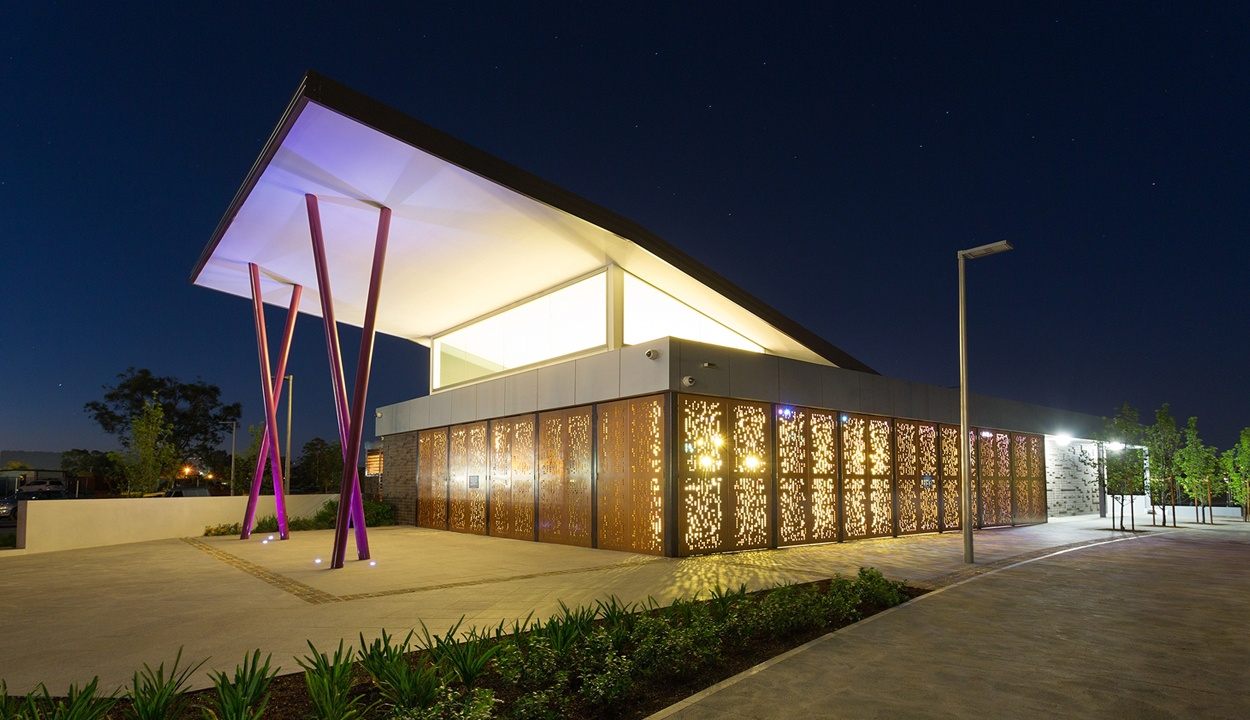 Penrith community pavilion building taken at night