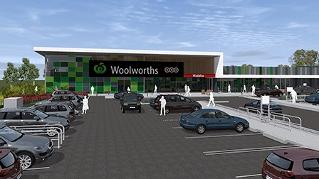 Woolworths Wadalba drawing of the retail outlet viewed from the car park