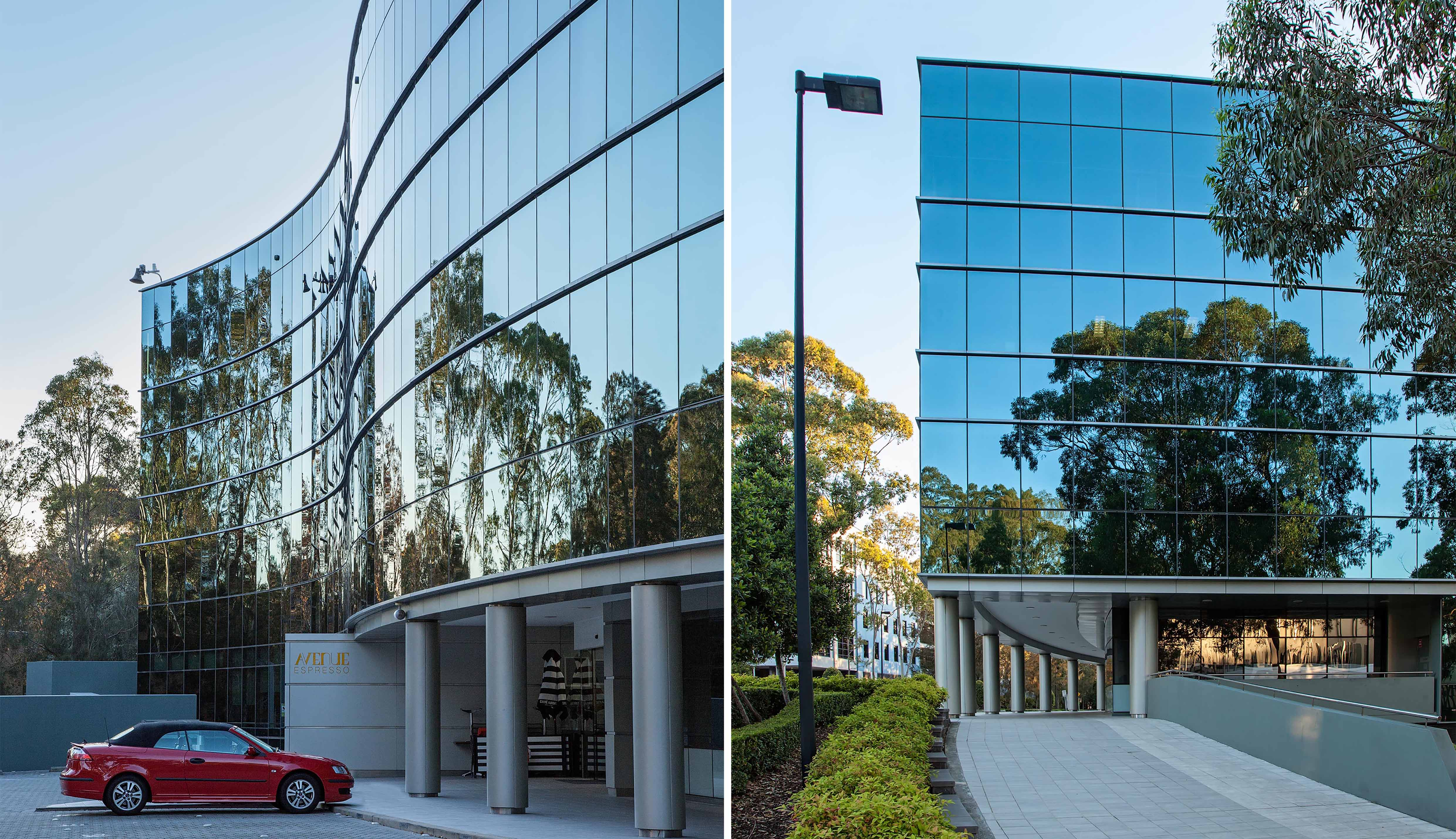 Everglades commercial office building enternace and parking North Ryde