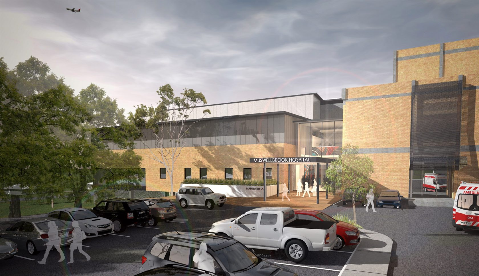 Muswellbrock hospital drawing of the hospital building from enterance