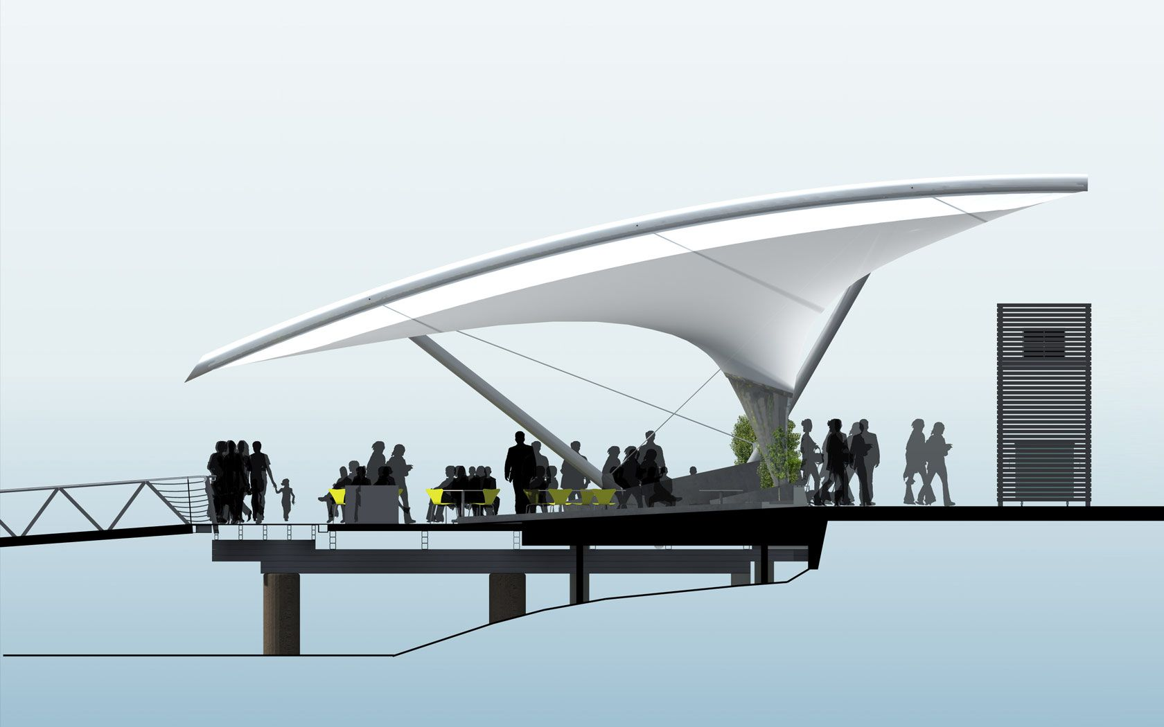 Sydney Fish markets design drawing of the seating and deck area