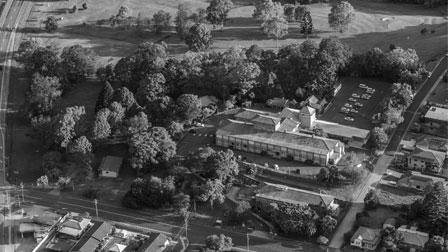 Macksville hospital black and white aerial view