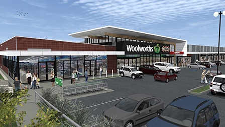 Woolworths Spring Farm drawing of the retail outlet view from the car park