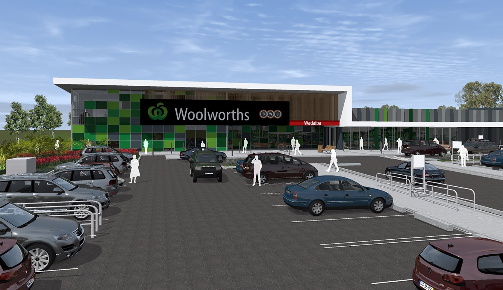 Woolworths Wadalba drawing of the retail outlets building from the front entrance and car park