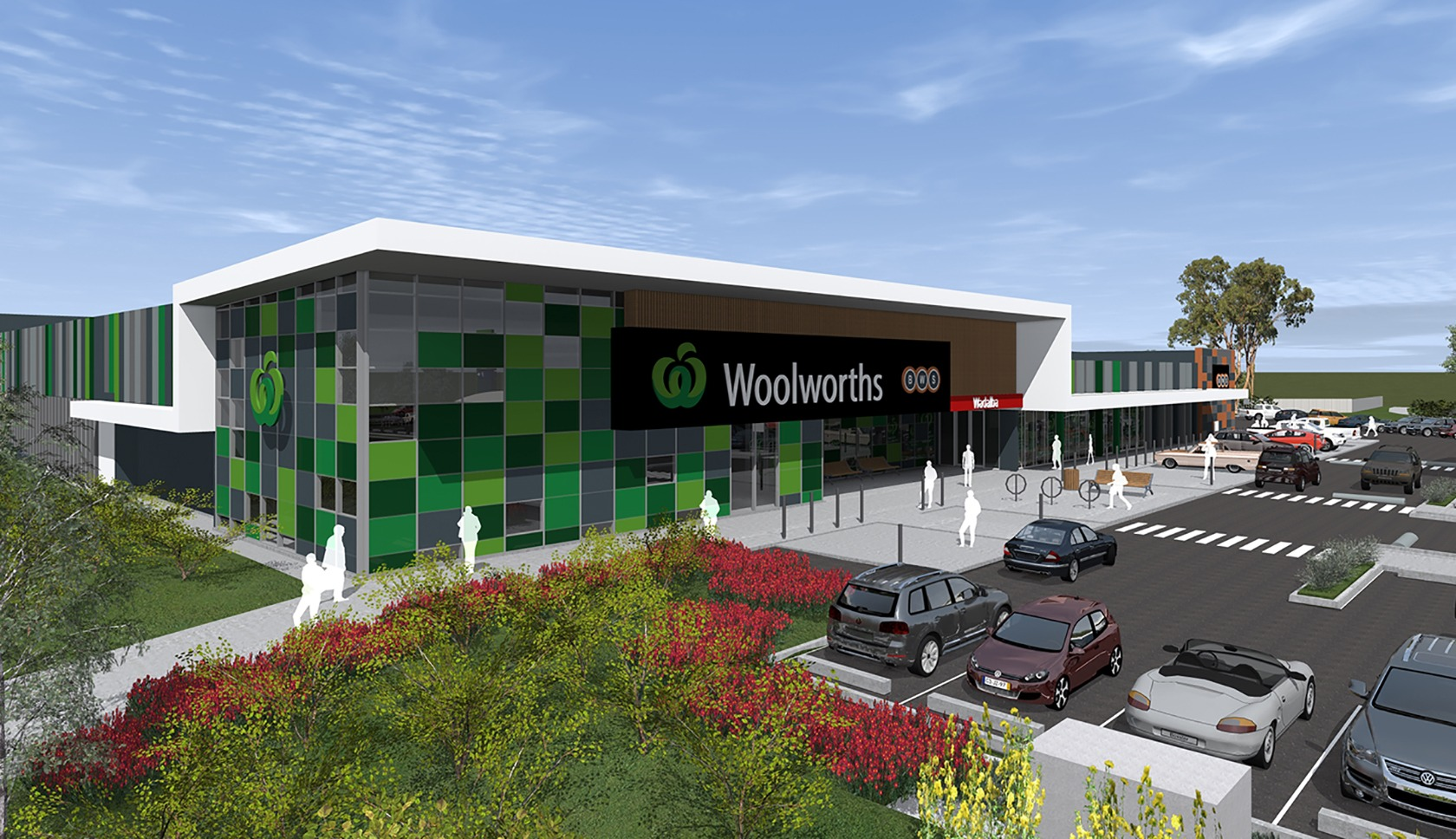 Woolworths Wadalba drawing of the retail outlets building from the front entrance