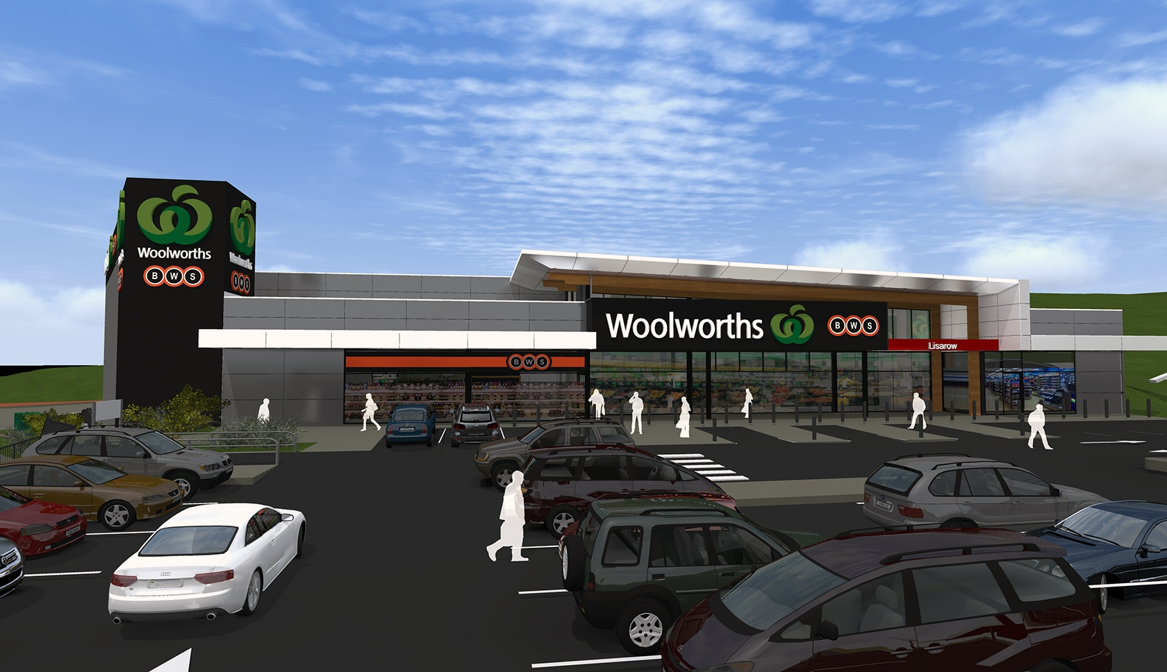 Woolworths Lisarow drawing of the retail outlet front entrance