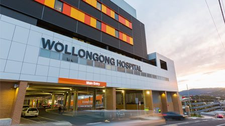 Woolongong hospital main entrance of the building