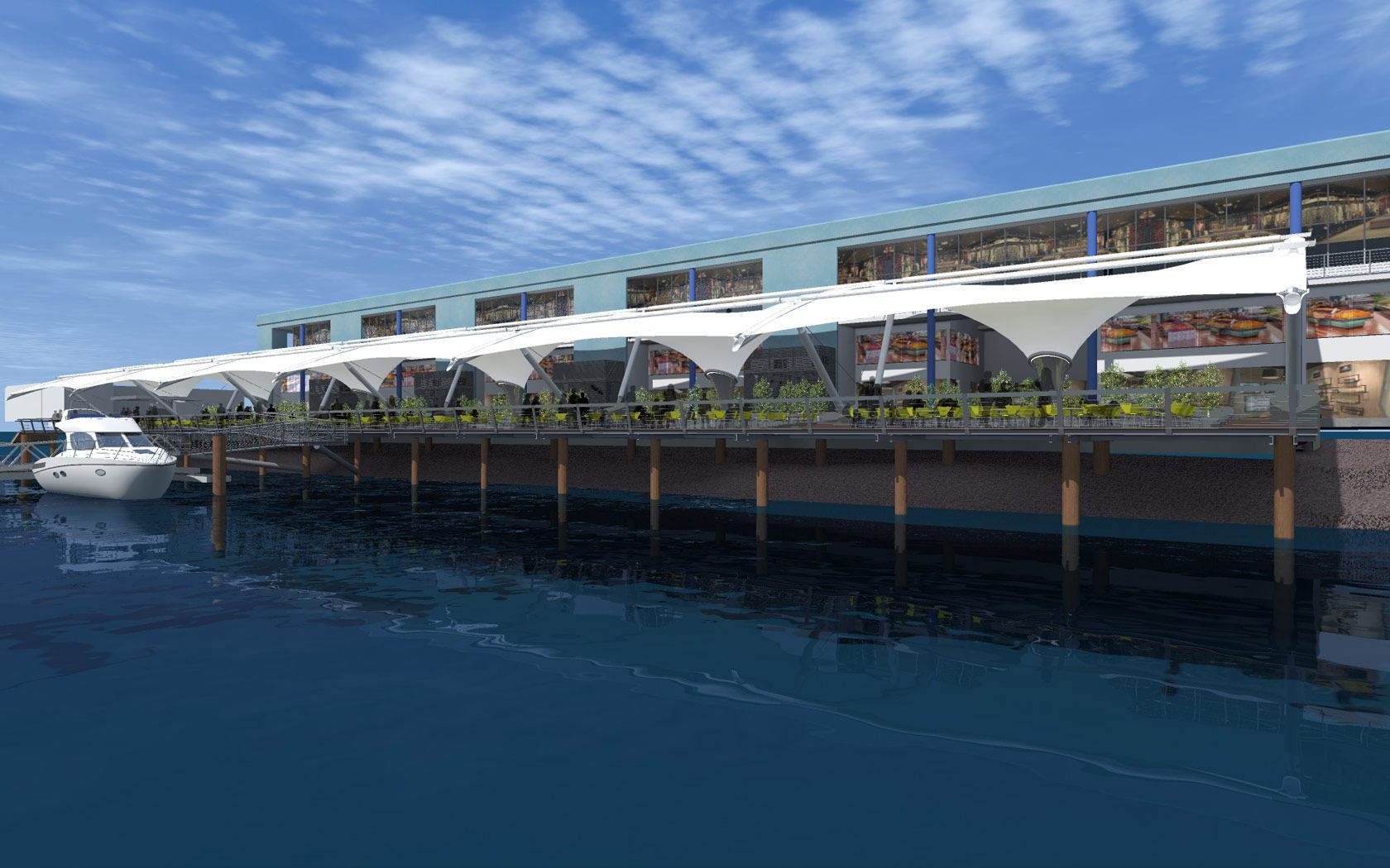 Sydney Fish markets design drawing of the outdoor seating water view