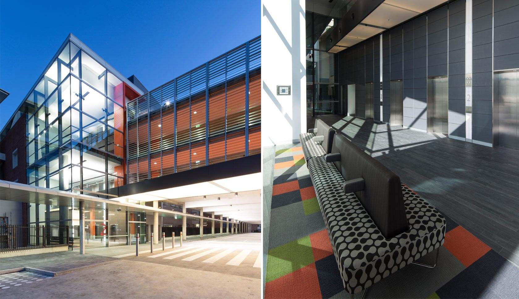 Sydney Adventist hospital front entrance internal and external view