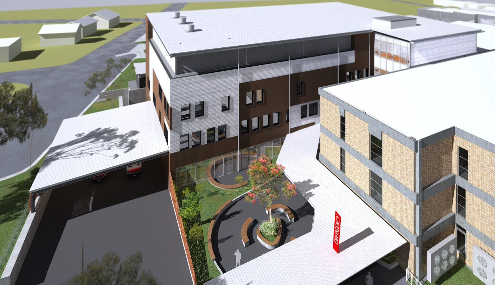 Armidale hospital aerial drawing of the building redevelopment