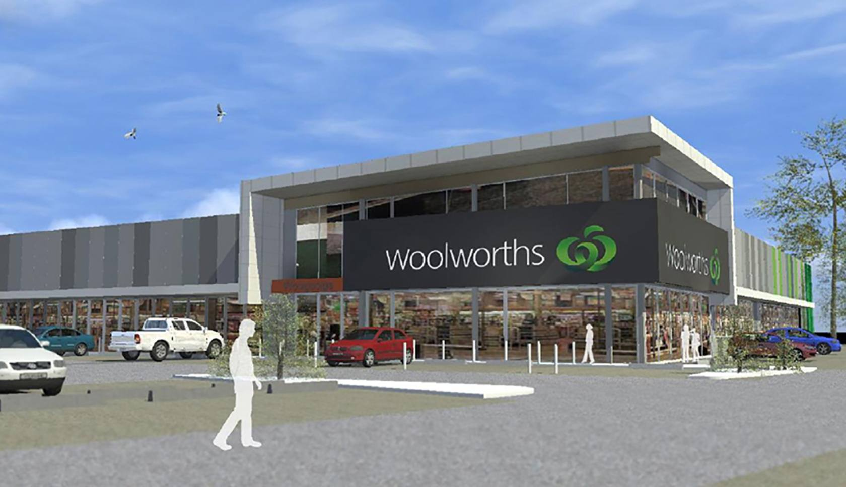 Woolworths Woolgoolga drawing of the retail outlet building entrance and car park
