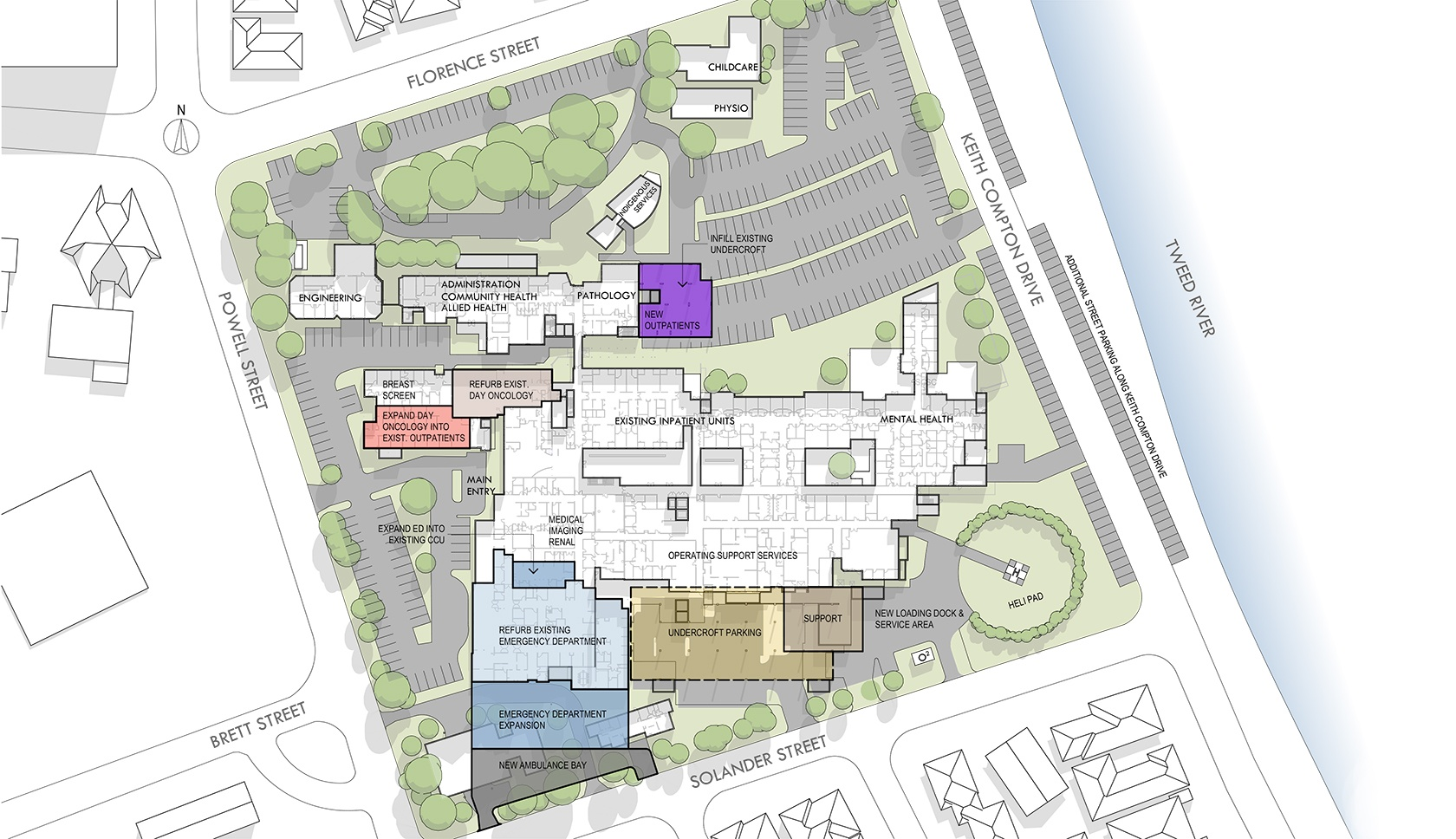 Tweed Hospital masterplan view from above drawing