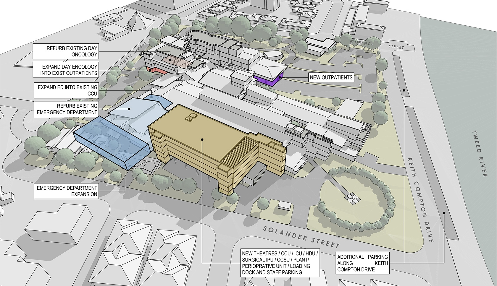 Tweed Hospital masterplan drawing of the site plans